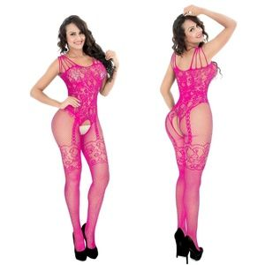 Other - Intricate Design PINK One Piece Fishnet Body Suit